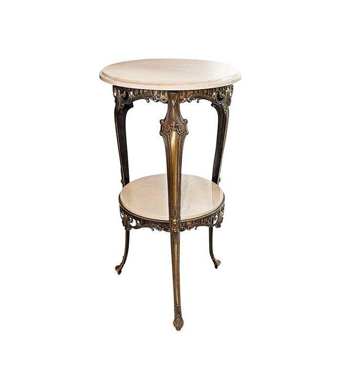 Chairish Italian Bronze & Marble Side Table