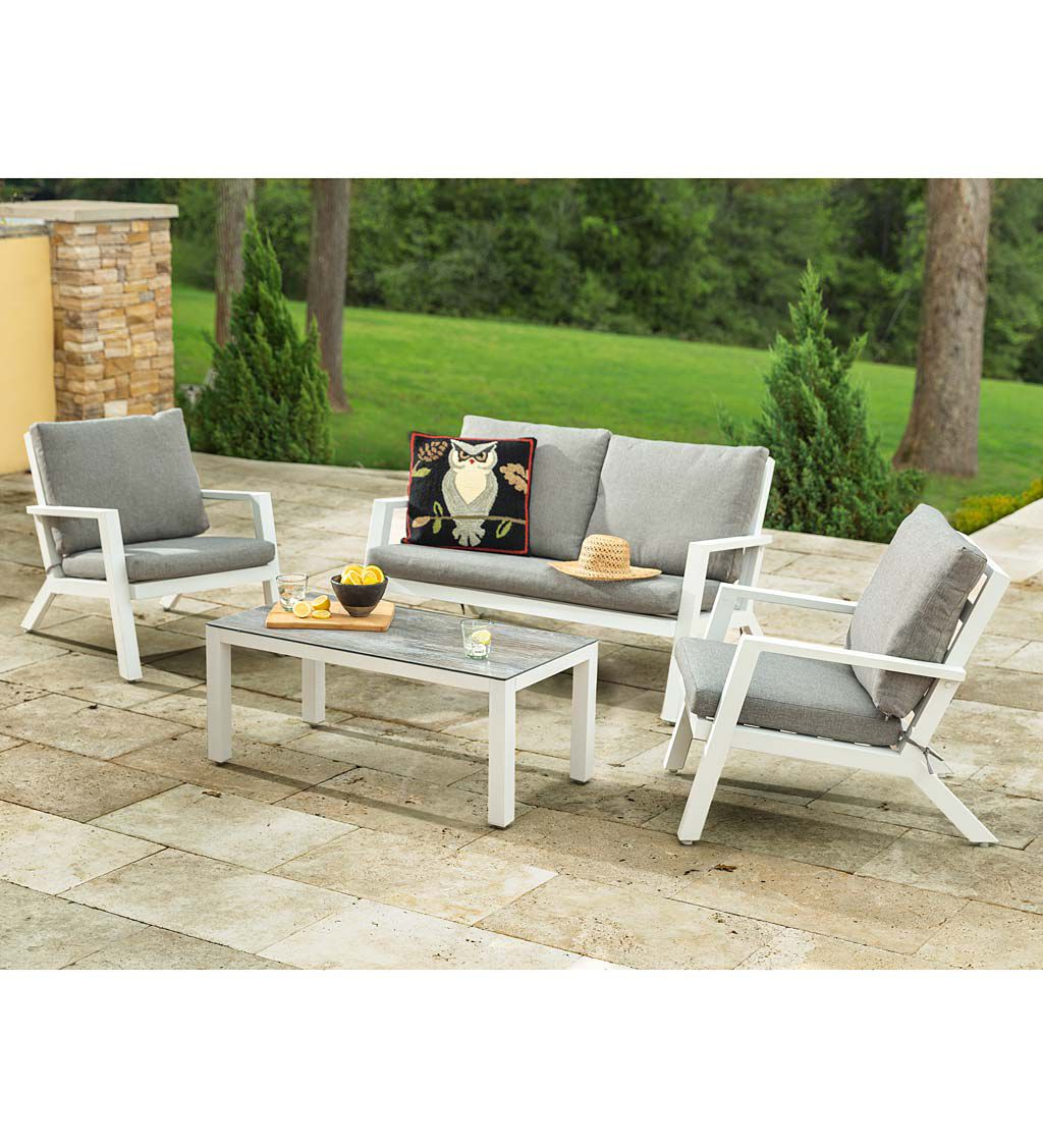 Plow & Hearth Green Spring Aluminum Outdoor Seating Set