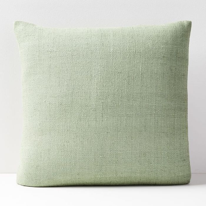 West Elm Silk Hand-Loomed Pillow Cover in Ash Green