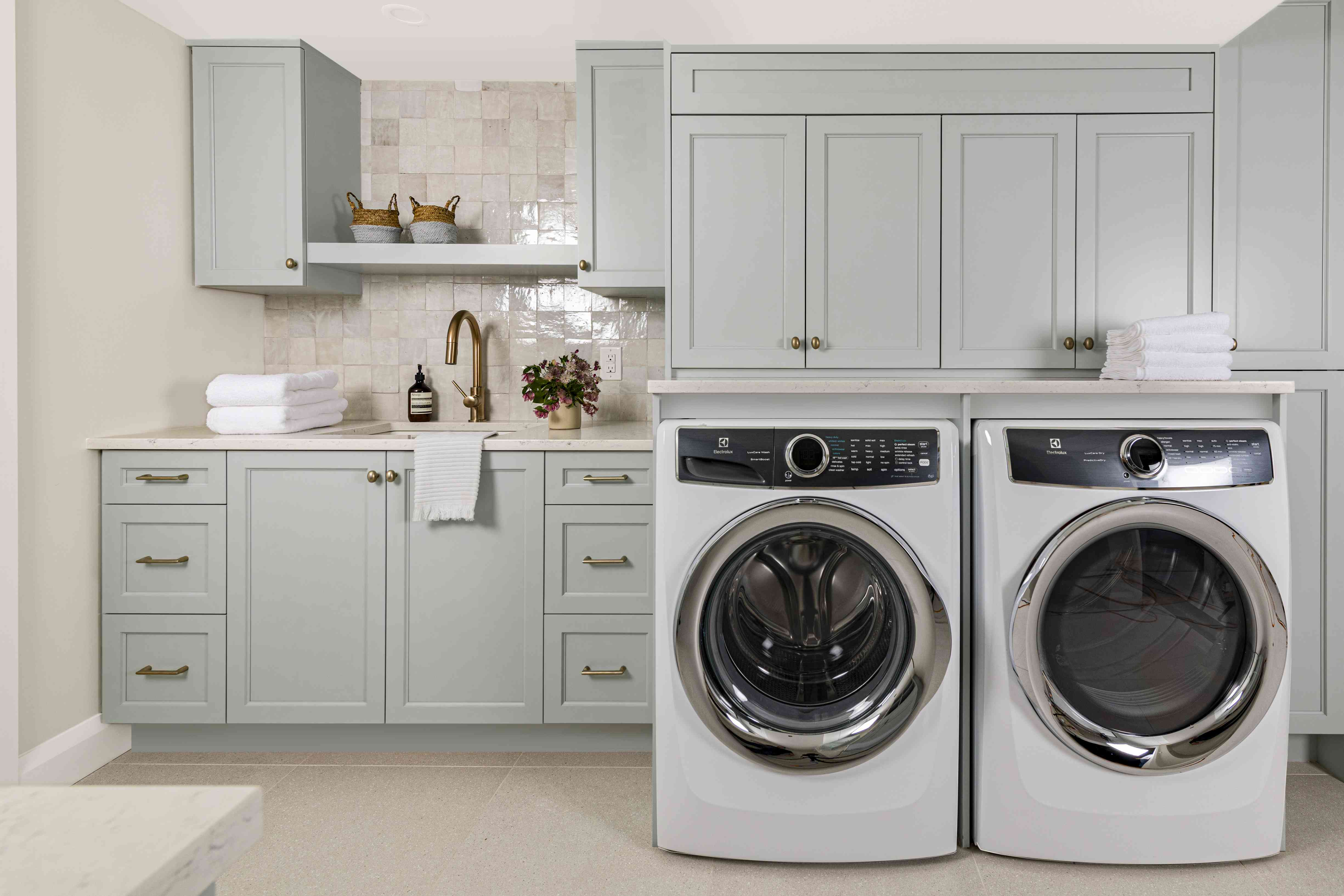 Blue and tan laundry room