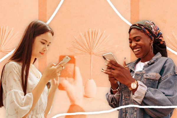 two women on smart phones with an illustrated background behind them