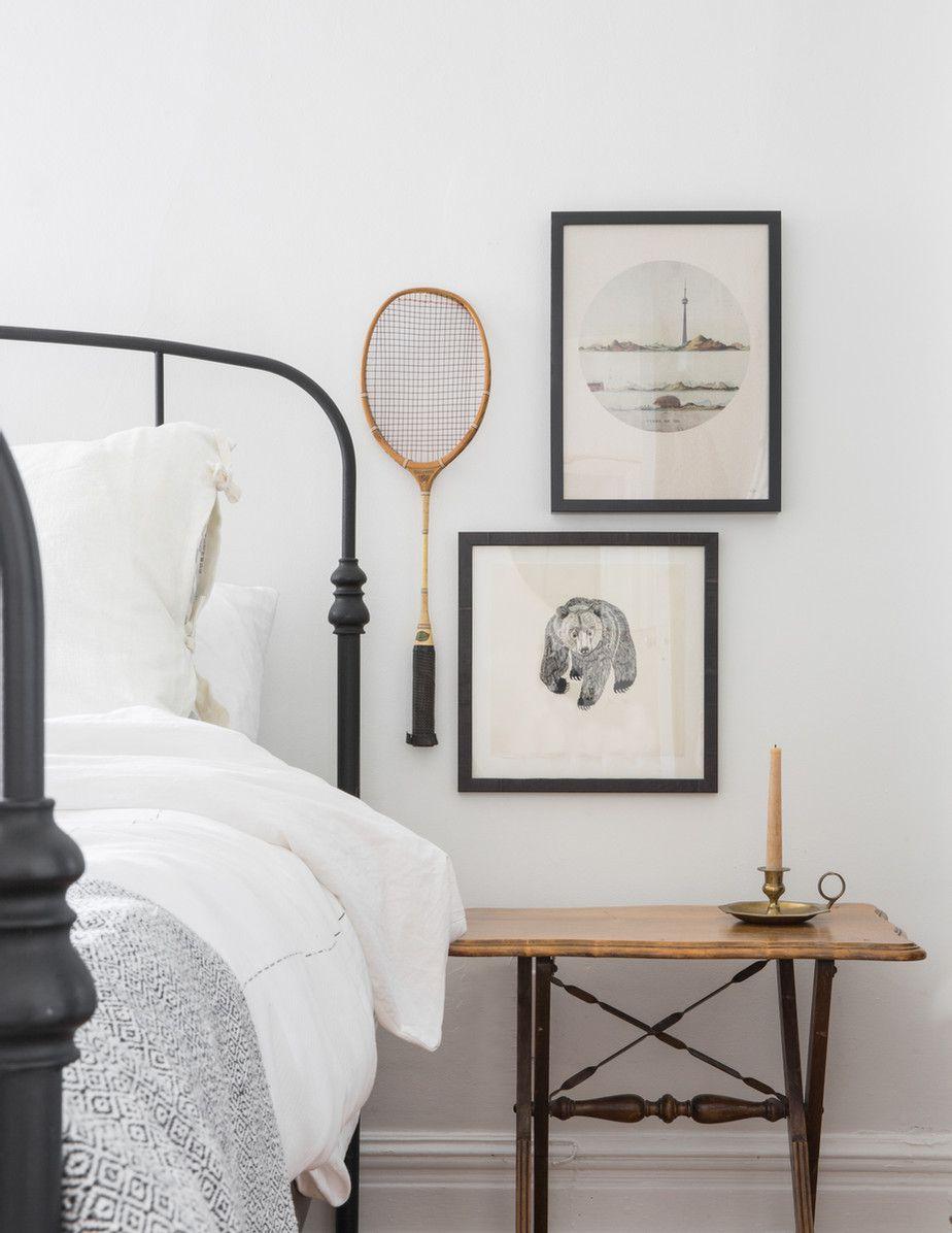 Bedside art display with tennis racket