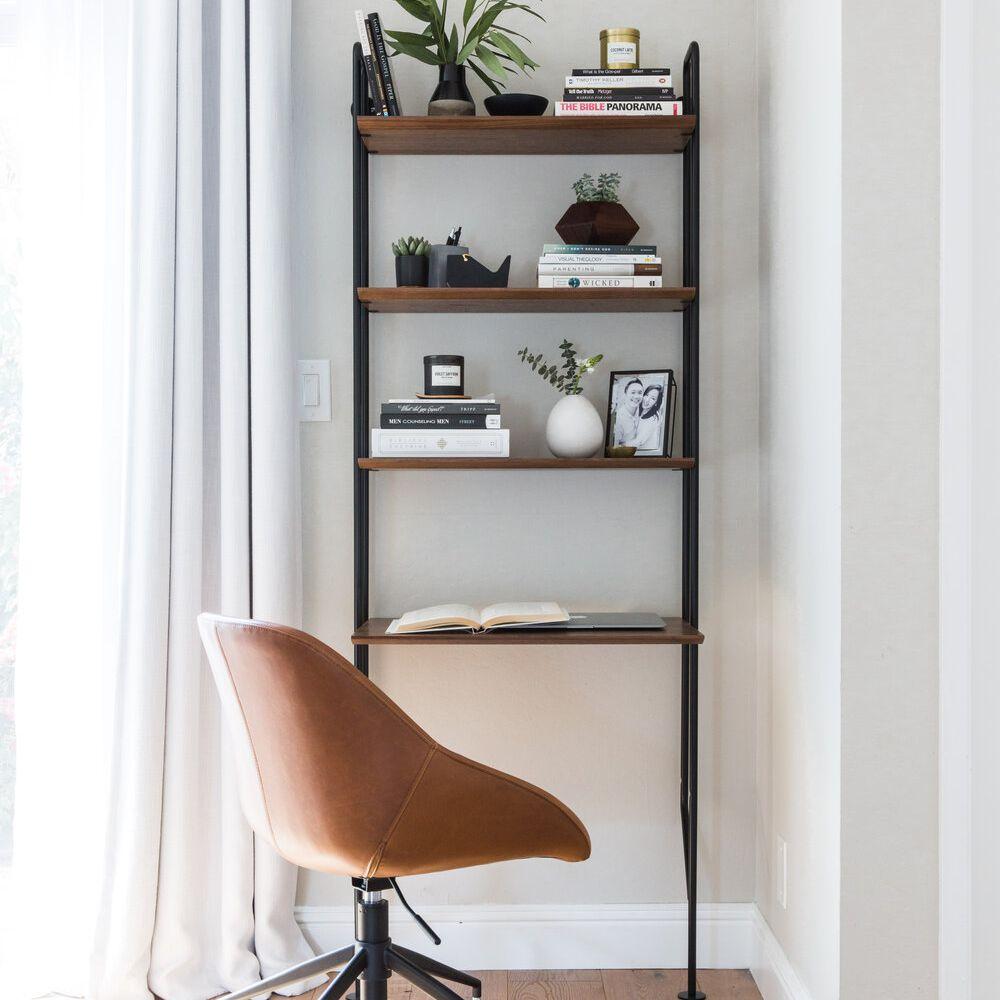 Corner turned into office nook with modern ladder desk