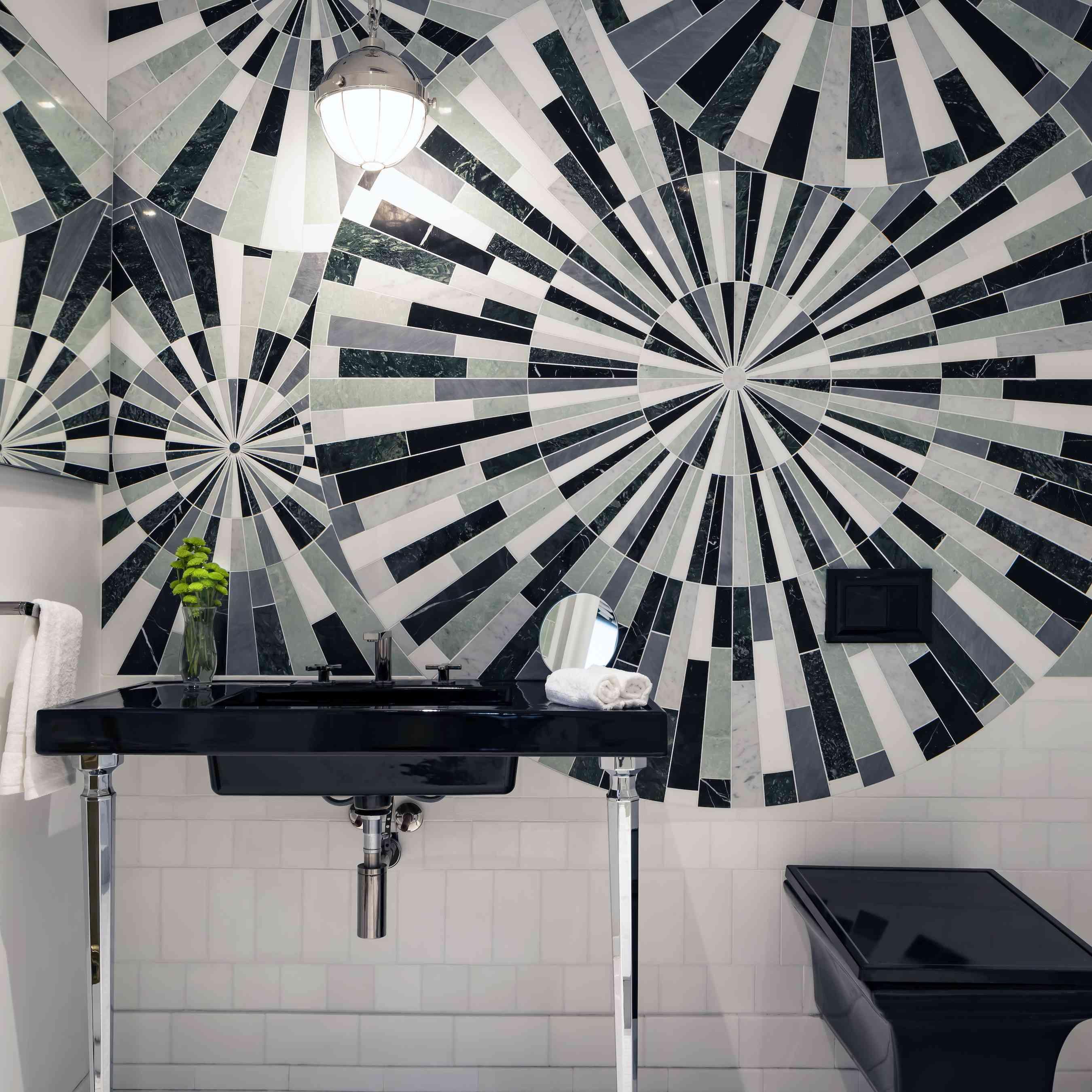 Black and white tiled bathroom.
