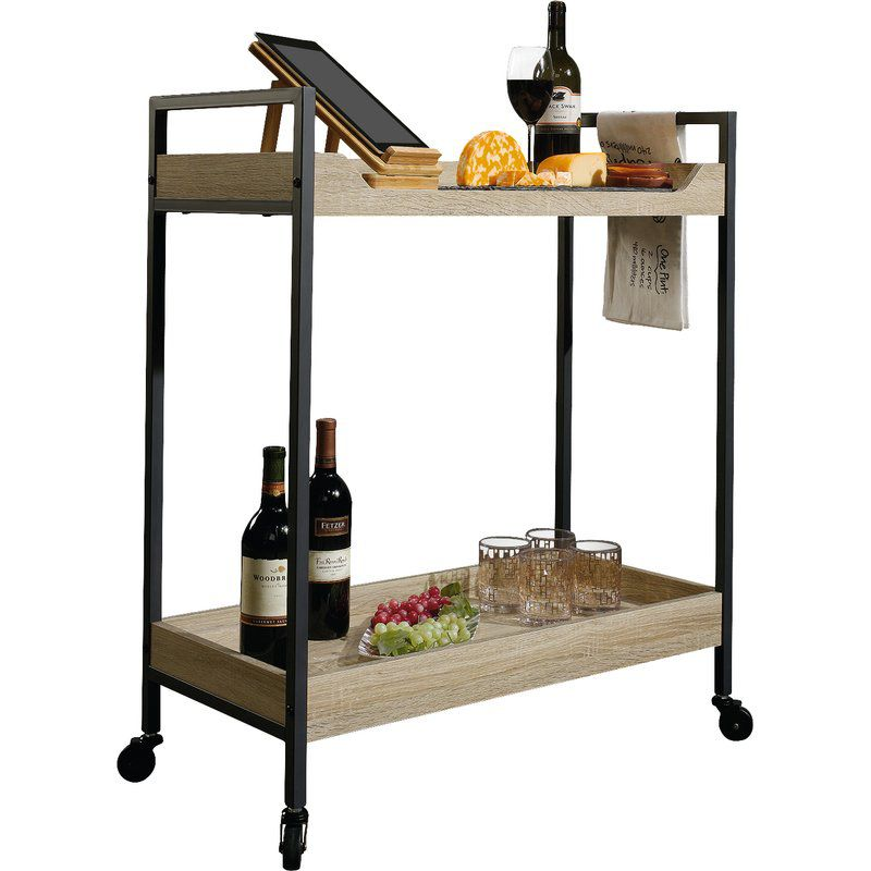 wood bar cart with black metal legs