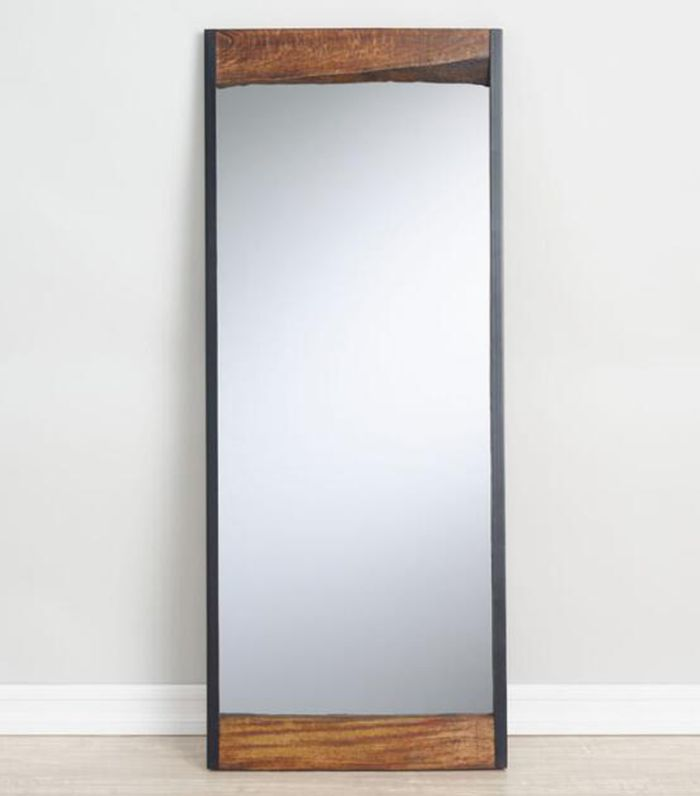 Large Walnut Brown Wood Leaner Mirror with Live Edge by World Market