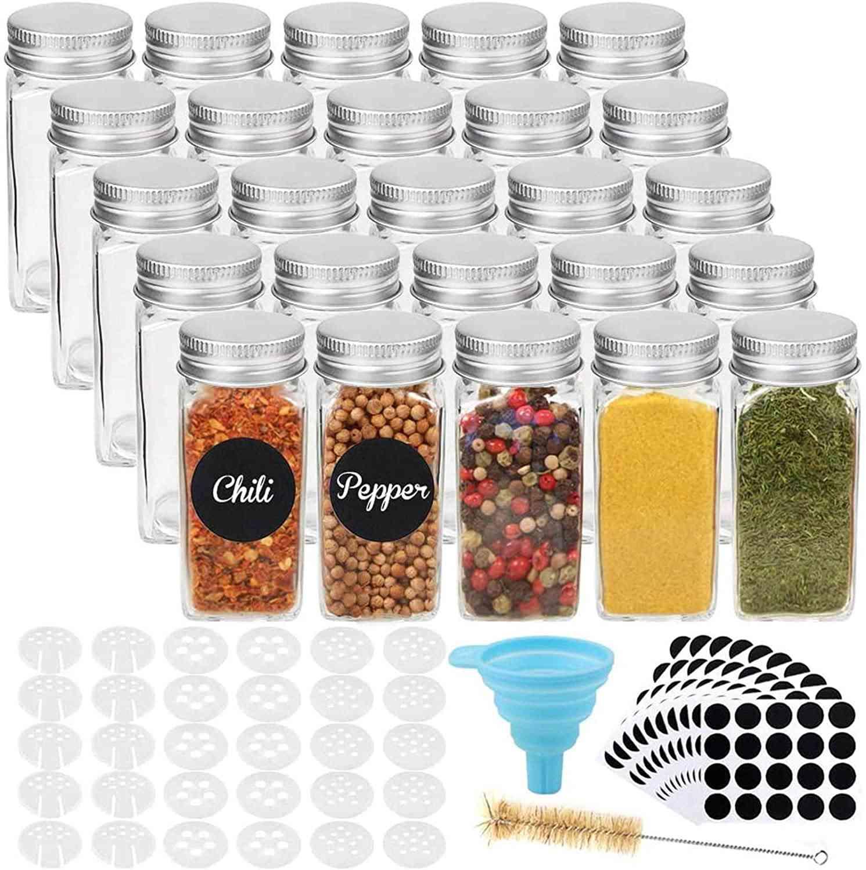 25pcs 4oz Glass Spice Jars Spice Bottles