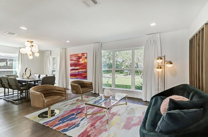 midcentury living room, watercolor painting and watercolor rug