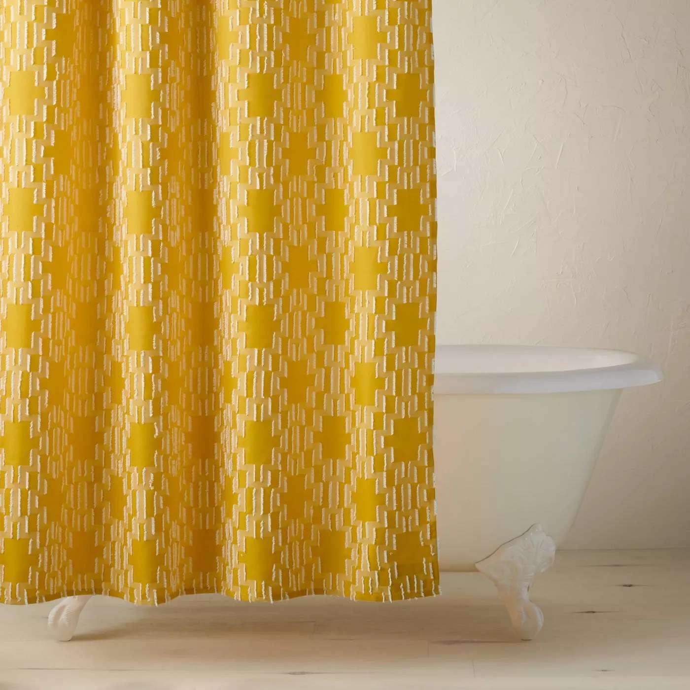 Yellow Geo Shower Curtain