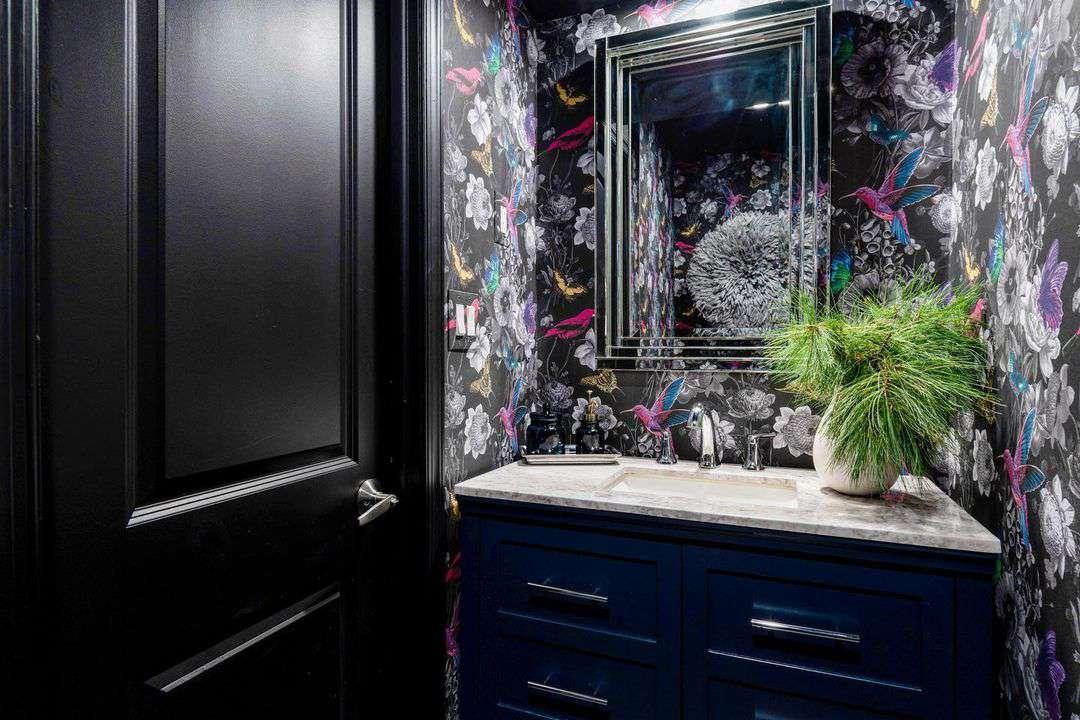 Blue and black bathroom design