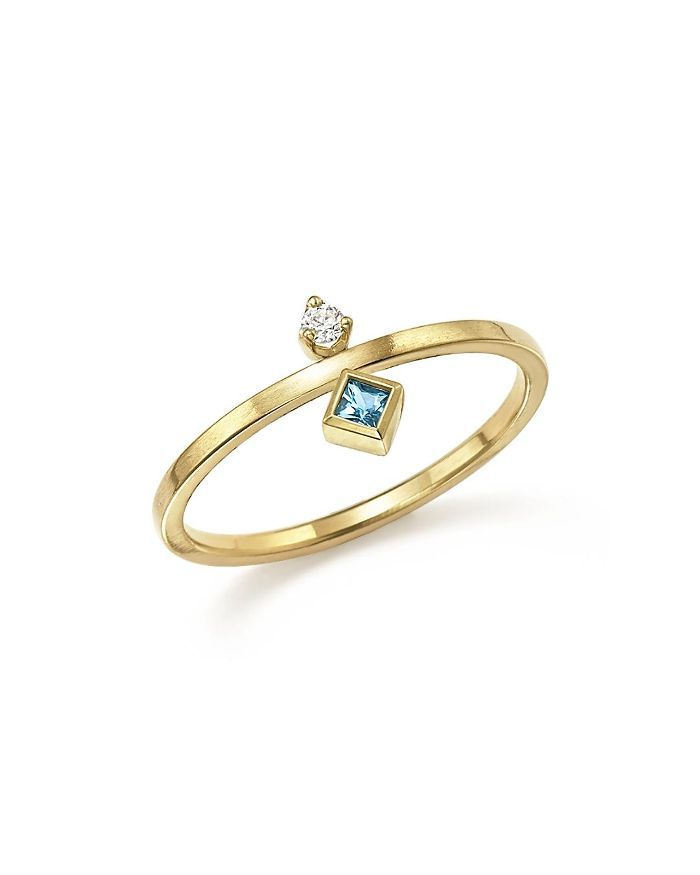 14K Yellow Gold Wire Ring with Stacked Aquamarine and Diamond - 100% Exclusive
