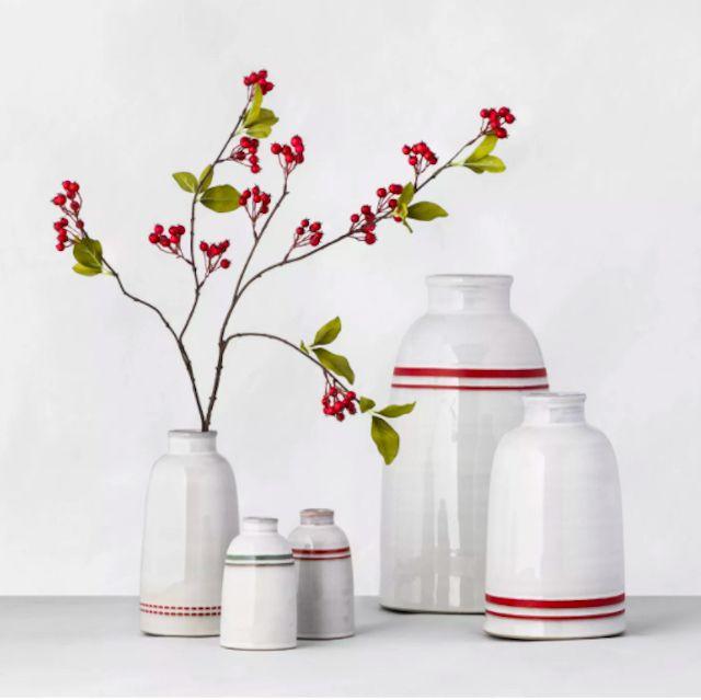 Dash Stripe Stoneware Decor Vase