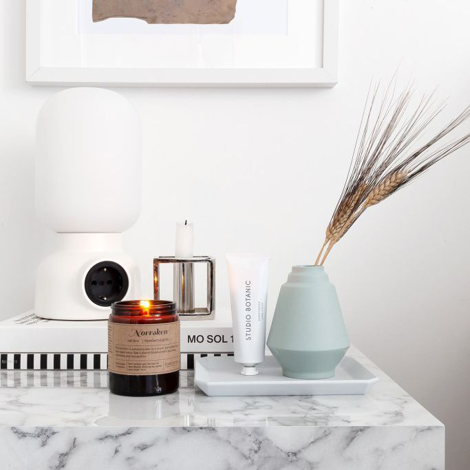 minimalist nightstand with pop of color