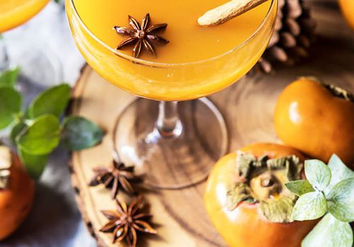 Fall Cocktails — Spiced Persimmon Bourbon Old Fashioned