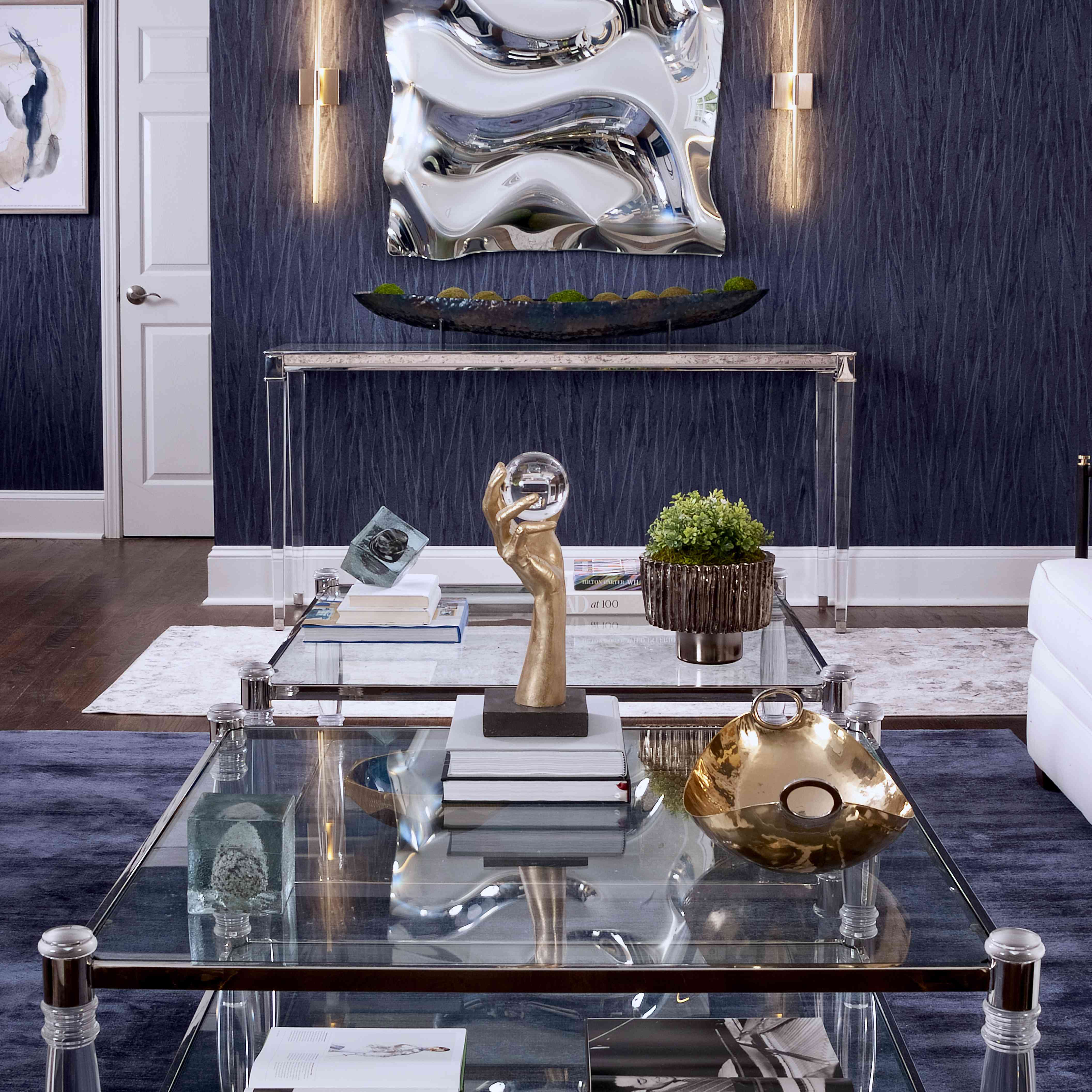makeover of the week - interior design by S&S, glam living room with navy blue wallpaper and rug with gold accents