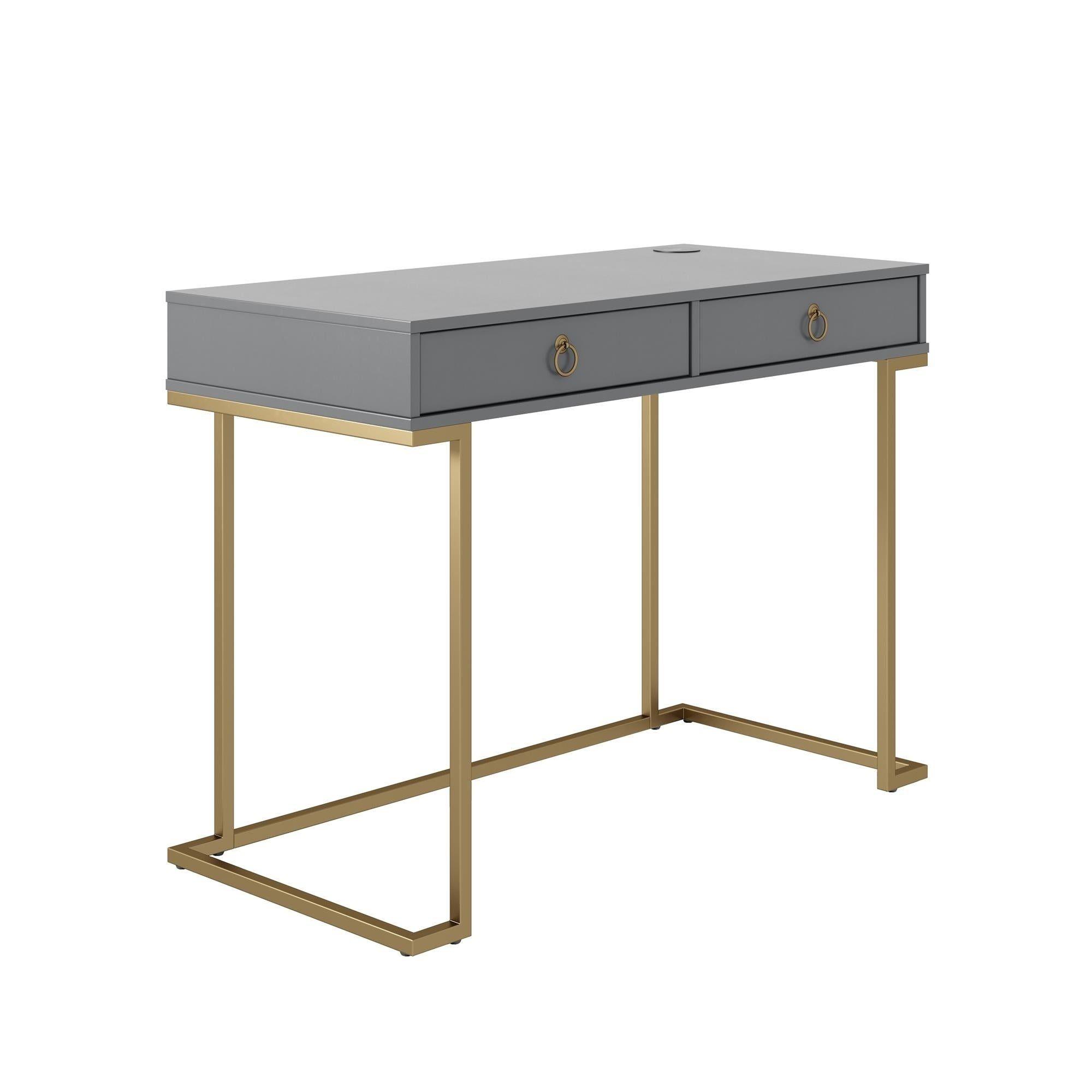 grey desk gold legs