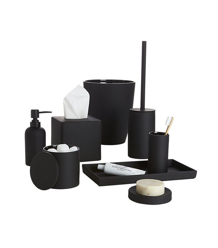 CB2 Rubber Coated Black Bath Accessories Set