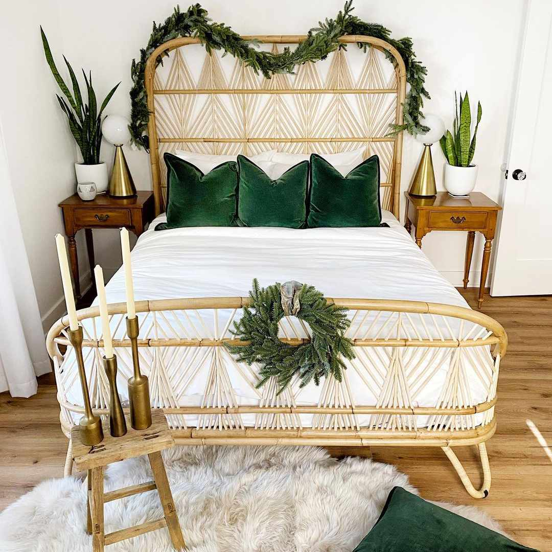 Bed with Christmas accents.