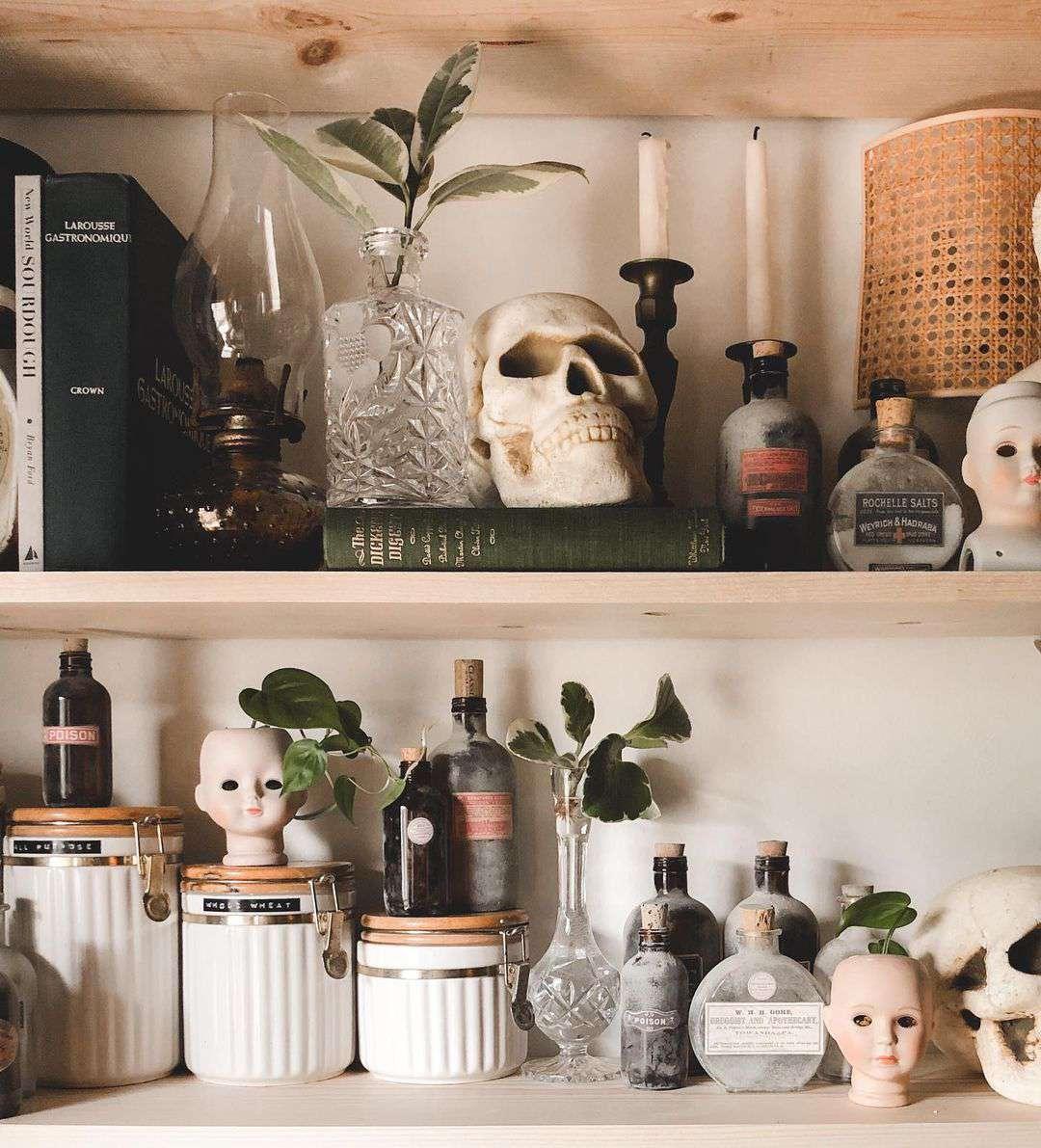 Bookshelf with baby doll heads