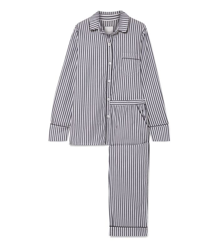 Halle Striped Cotton-voile Pajama Set