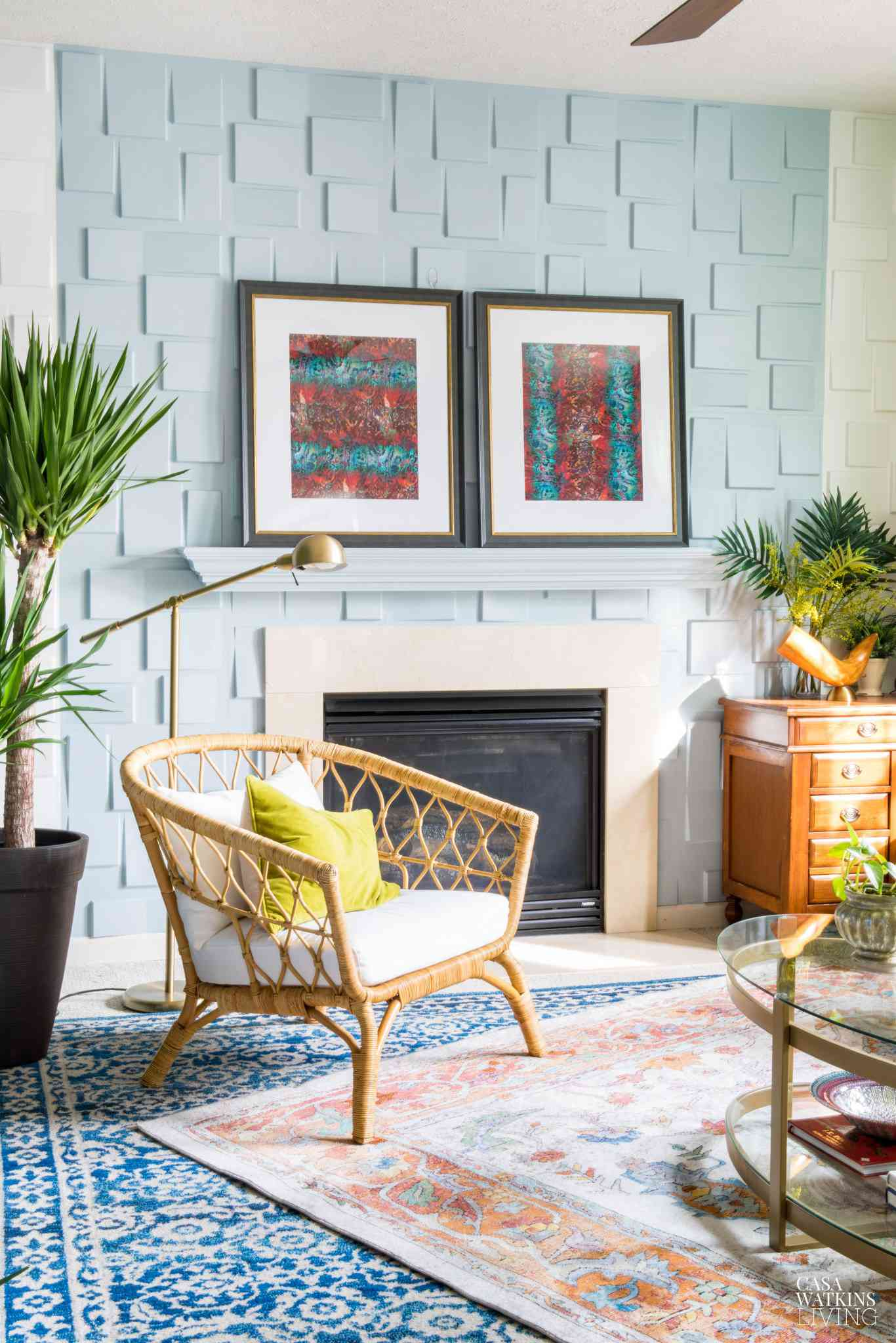Living room with Alice White paint stripe