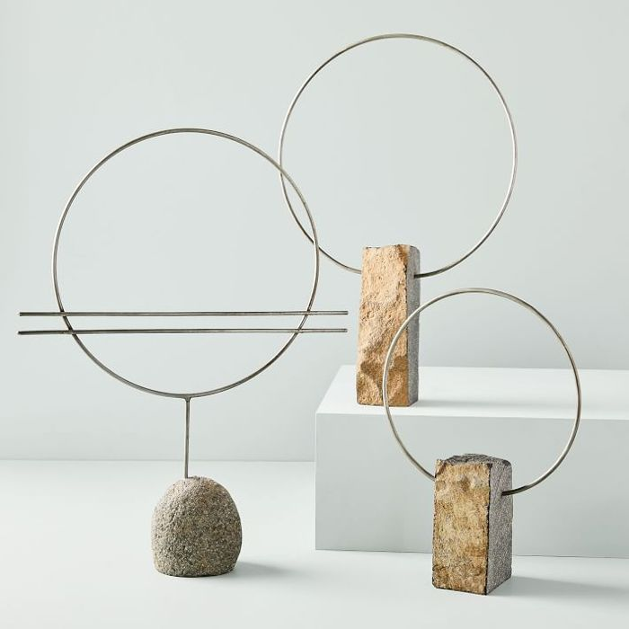 West Elm River Rock and Metal Sculpture