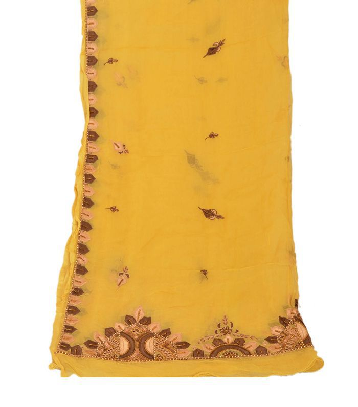 Dupatta Long Stole Chiffon Silk Yellow Hand Beaded Wrap Veil