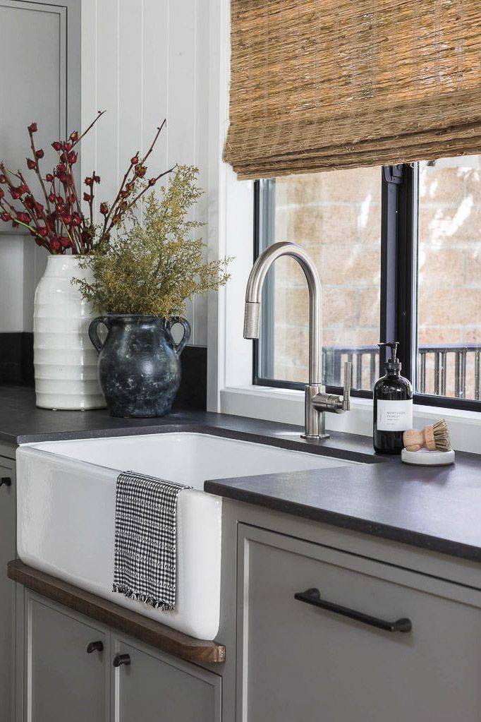 A farmhouse sink in a gray kitchen