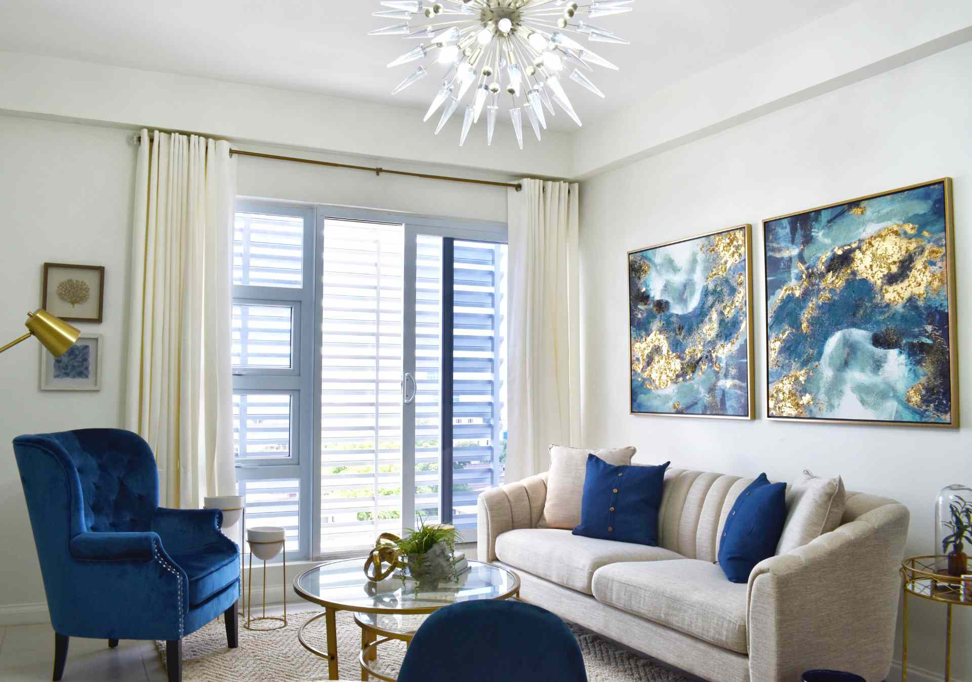 Living room with oversized wall art