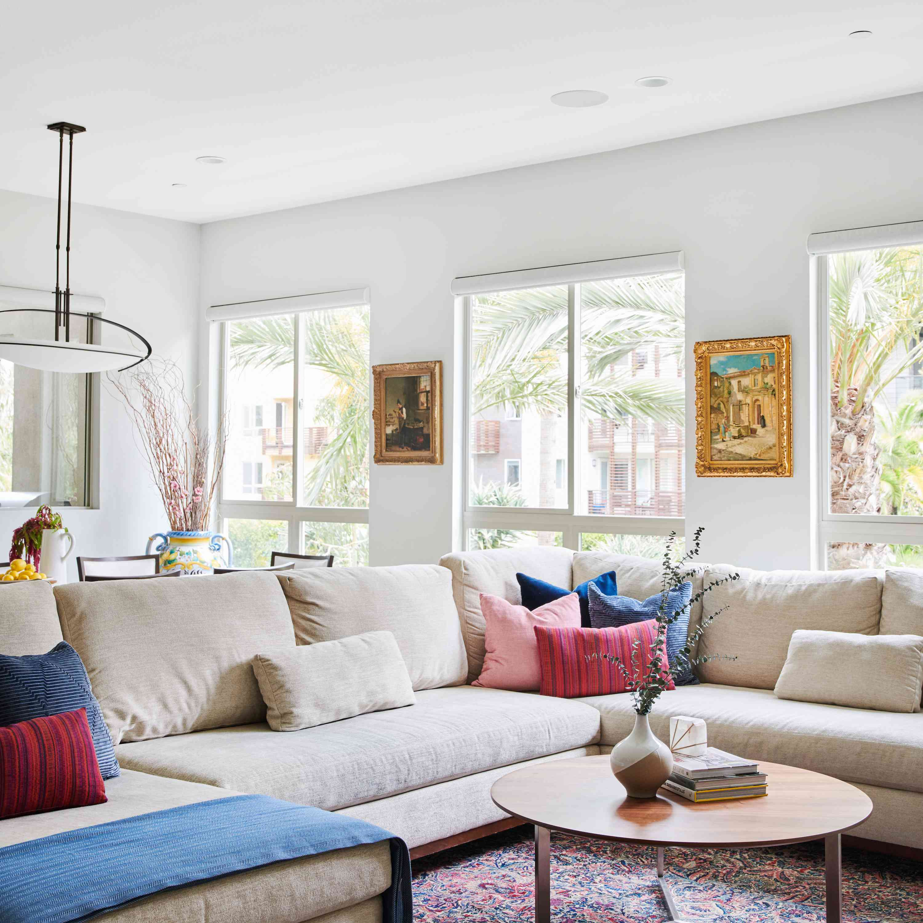 Large beige living room sectional.