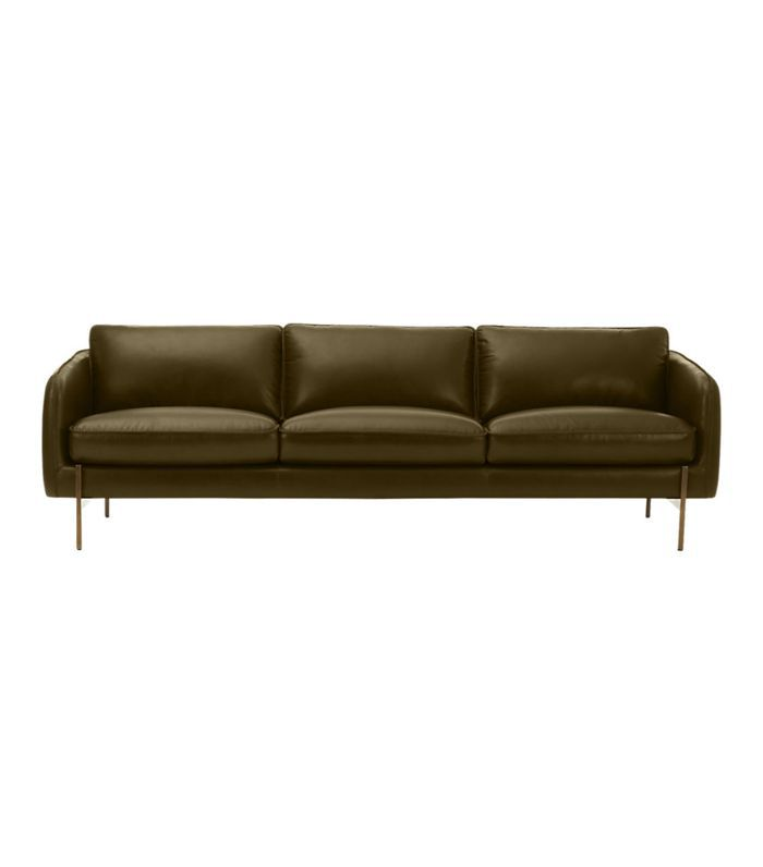CB2 Hoxton Olive Green Leather Sofa