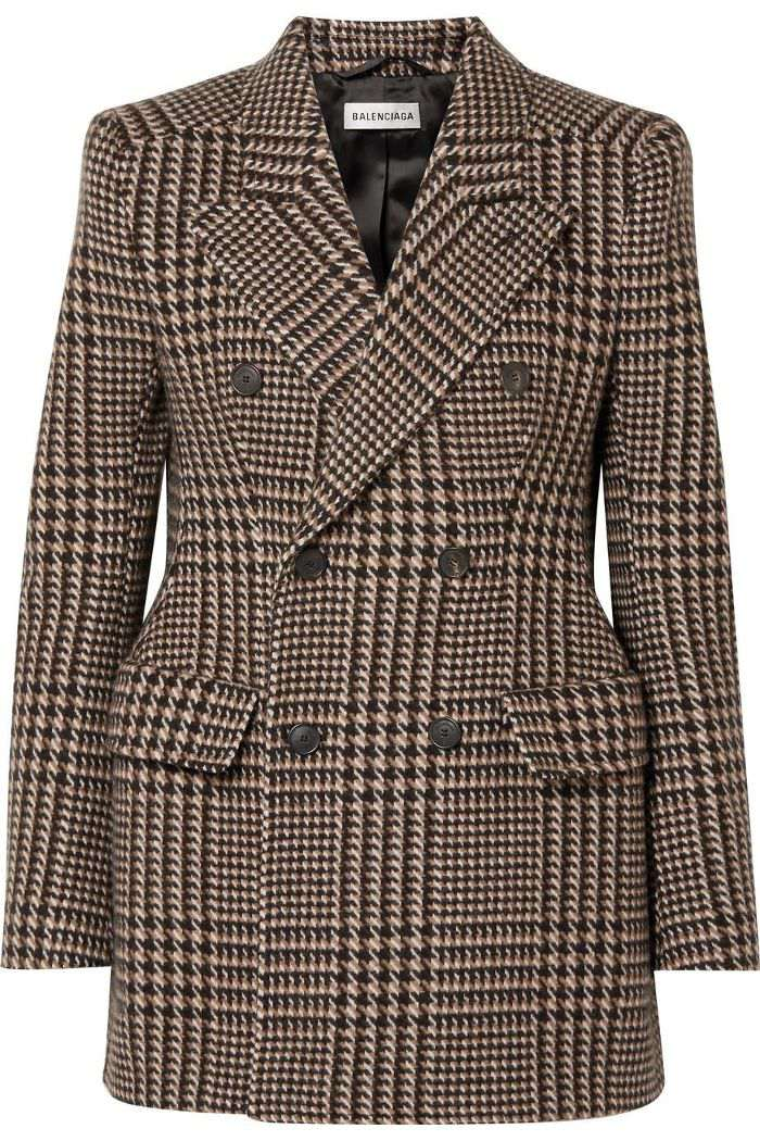Hourglass Houndstooth Wool Blazer