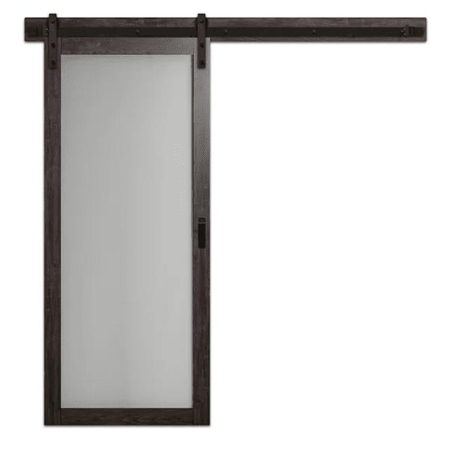 Continental Glass Barn Door with Installation Hardware Kit