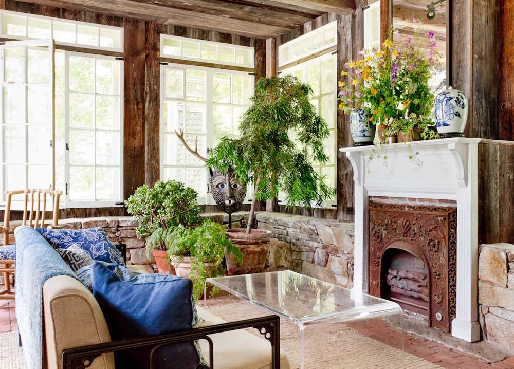 Rustic family room with perspex coffee table