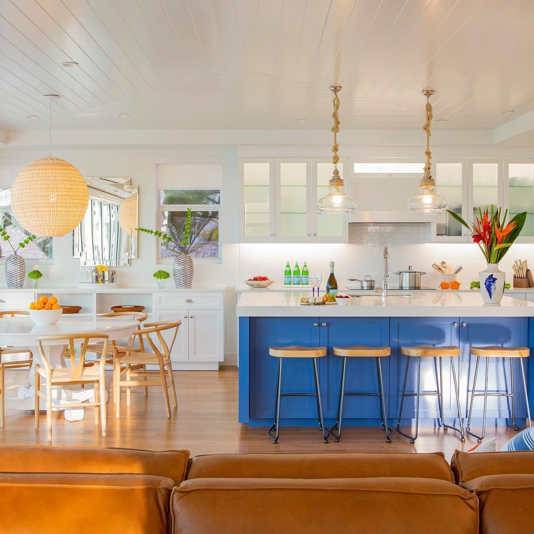 Blue cabinets in a kitchen