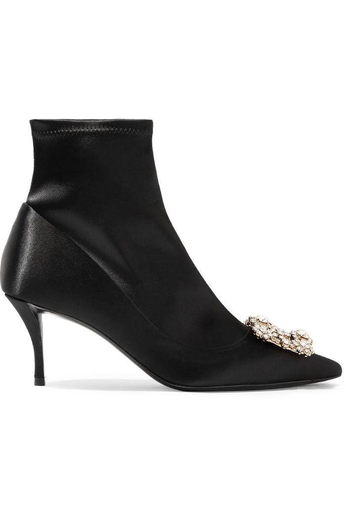 Roger Vivier Flower Strass Crystal-Embellished Silk-Satin Sock Boots