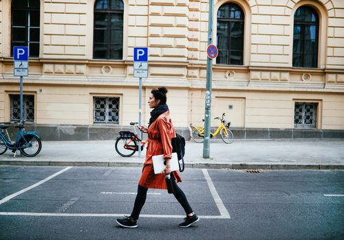 Woman walking in Berlin.
