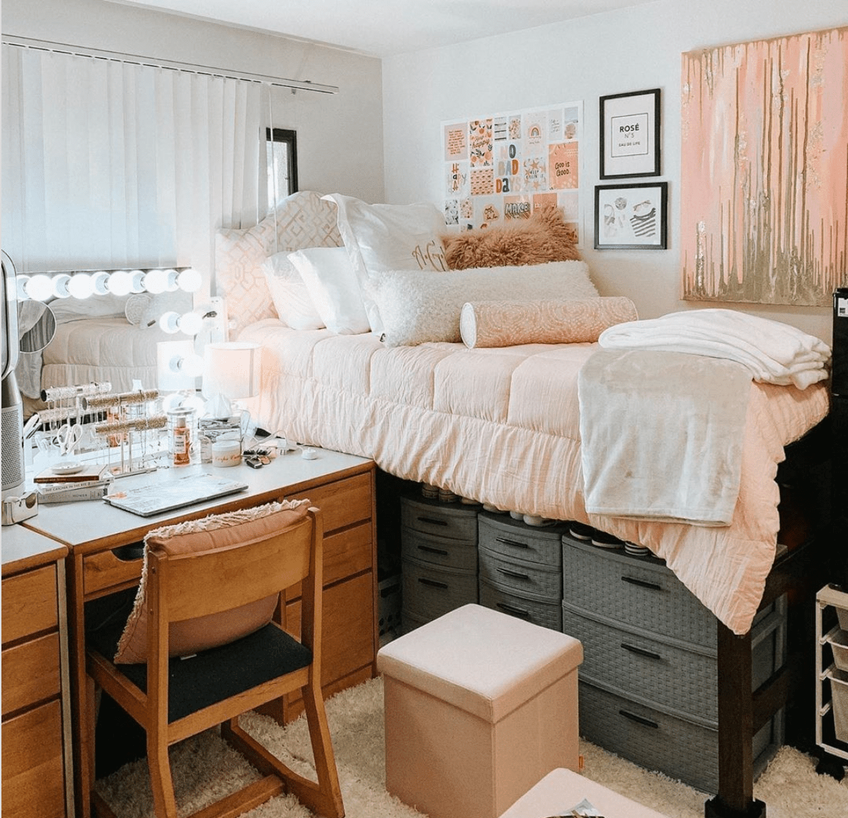 Decked-out dorm room with full vanity mirror.