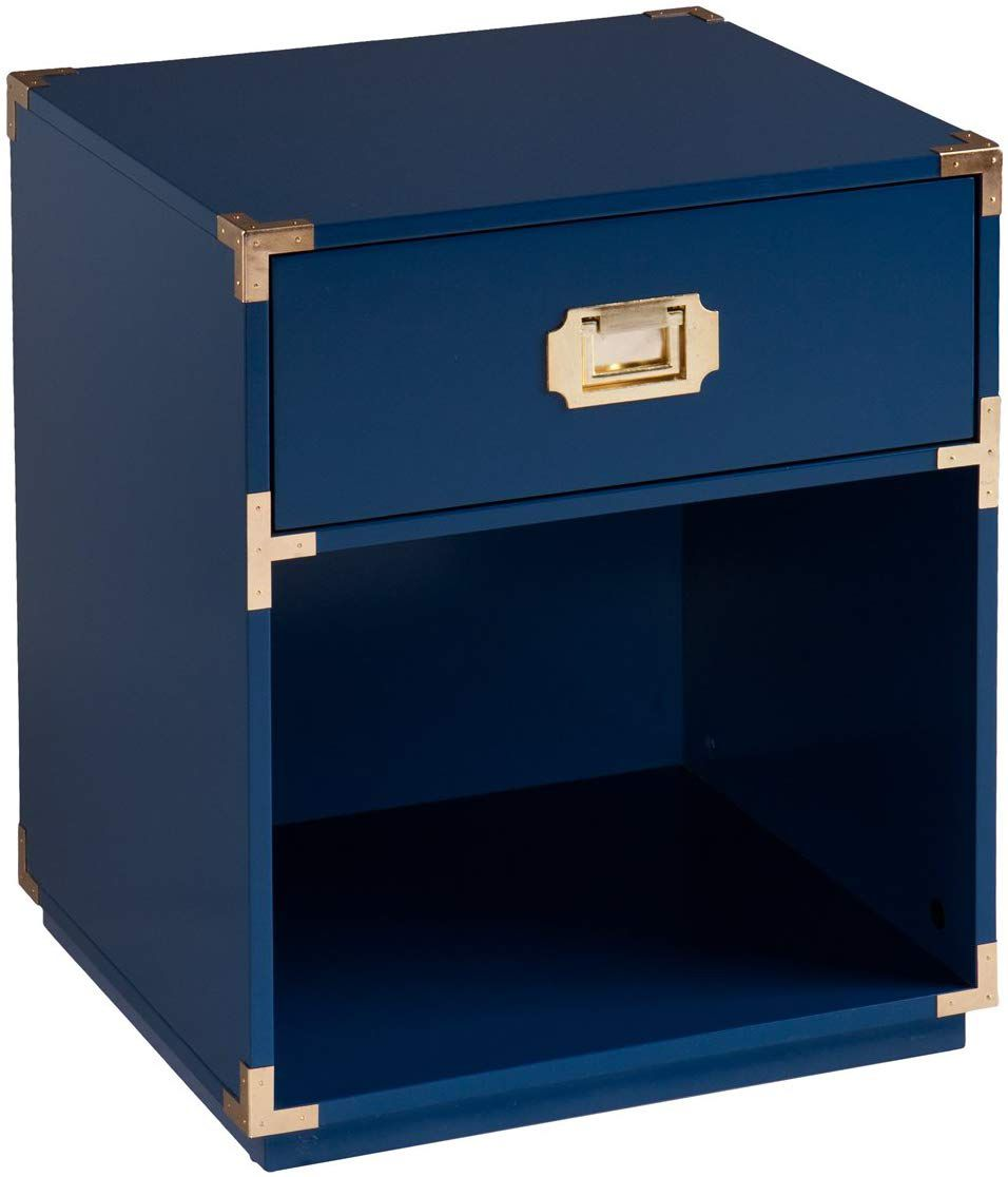 A blue lacquered end table with a drawer and a storage compartment.