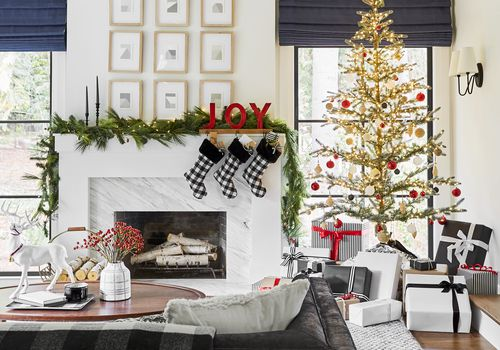 living room decorated for Christmas luxury gift guide