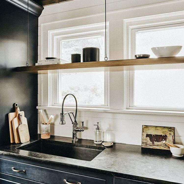 Black glossy cabinets