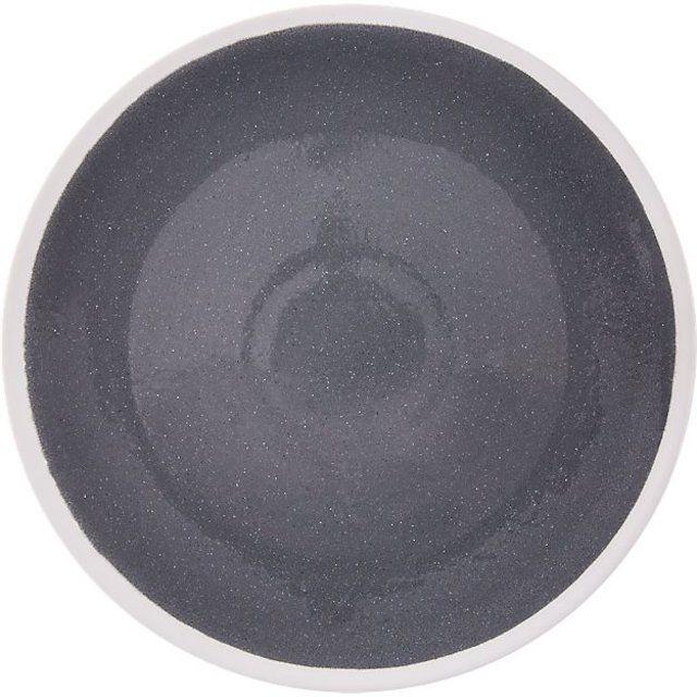 CB2 Mason Grey-White Stonware Dinner Plate