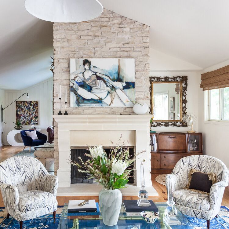 An eclectic living area with a proper layout that doesn't look too busy—everything fits.
