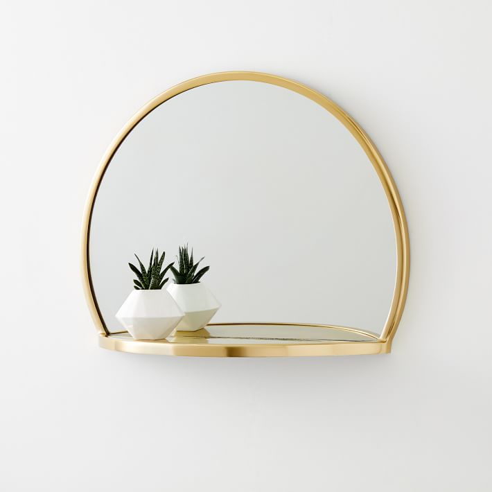 Decorated Brass Circle Shelf Mirror