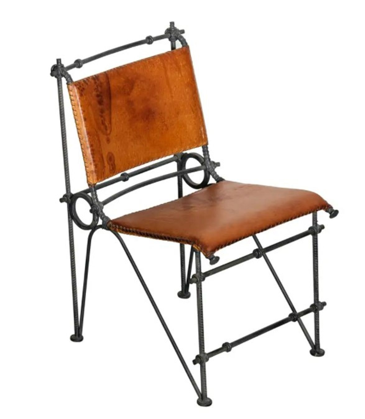 Vintage Ilana Goor Brutalist Leather and Wrought Iron Side Chair
