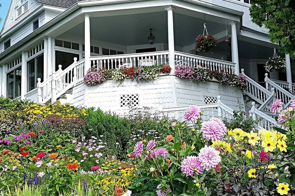 Classic Nantucket house with lots of flowers on exterior.