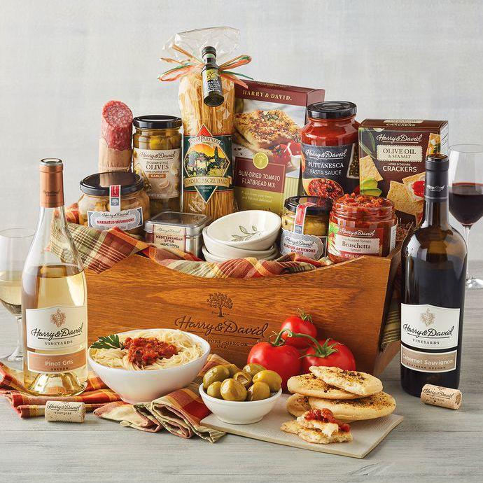 Italian Inspirations Gift Basket with Wine