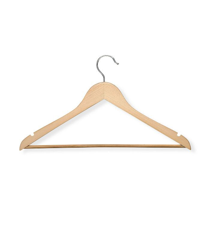 Wood Nonslip Maple-Finish Hangers, Set of 24