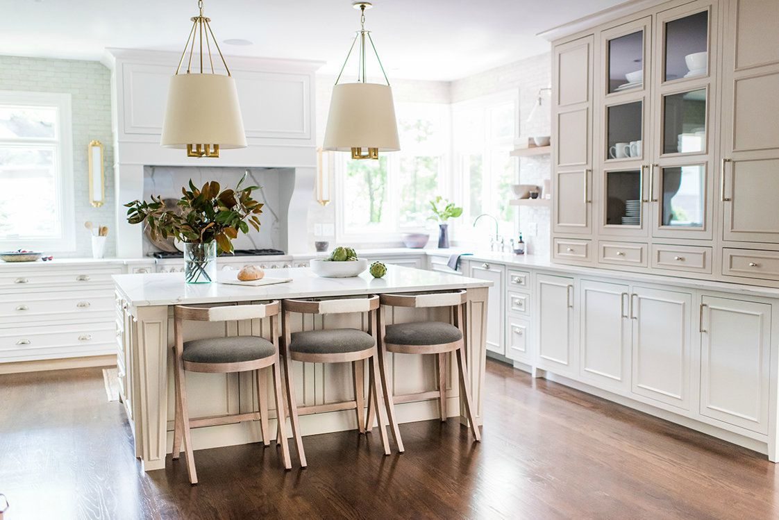 best kitchen ideas - tan kitchen with white accents