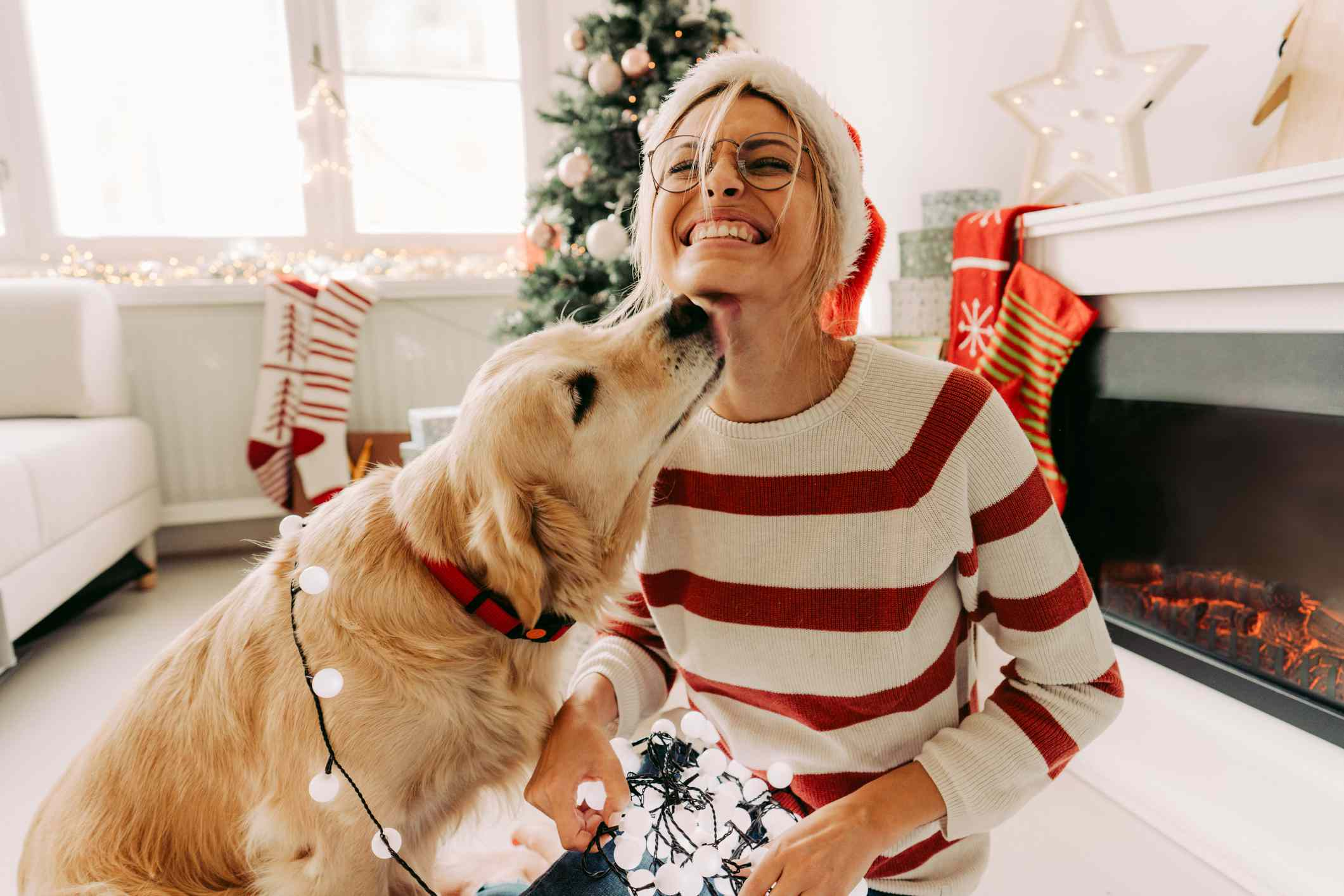 gift exchange ideas - dog and woman on christmas
